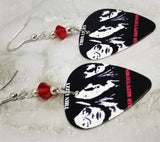 Thin Lizzy Bad Reputation Guitar Pick Earrings with Red Swarovski Crystals
