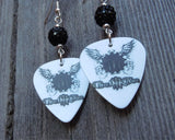 Three Days Grace Guitar Pick Earrings with Black Pave Beads