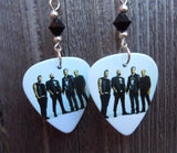 Three Days Grace Group Picture Guitar Pick Earrings with Black Swarovski Crystals