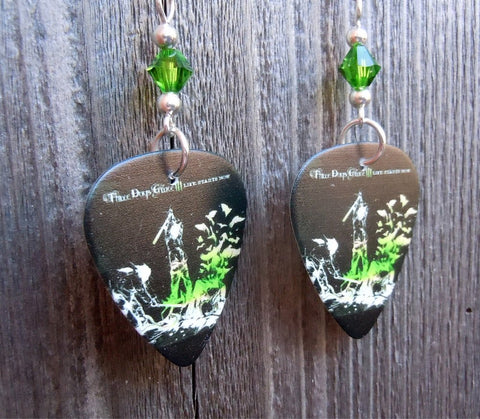 Three Days Grace Life Starts Now Guitar Pick Earrings with Green Swarovski Crystals