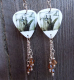 Three Days Grace Self Titled Album Guitar Pick Earrings with Brown Swarovski Crystal Dangles