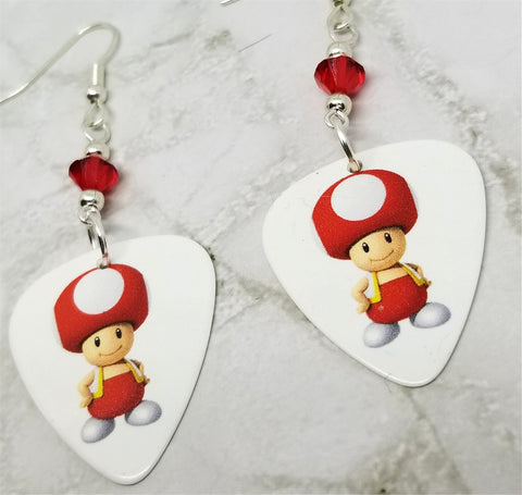 Mario Kart Character Toad Guitar Pick Earrings With Red Swarovski Crystals