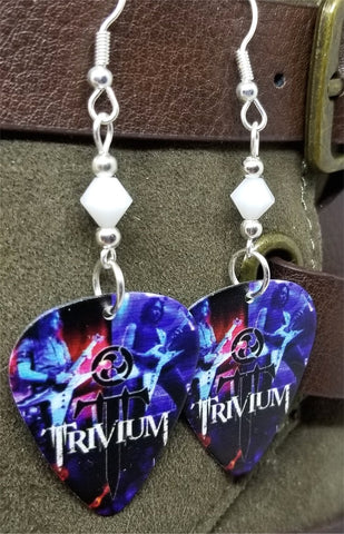 Trivium Live in Amsterdam 2005 Guitar Pick Earrings with White Swarovski Crystals