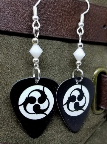 Trivium Logo Guitar Pick Earrings with White Swarovski Crystals