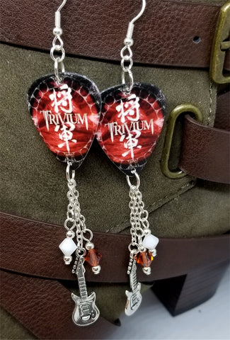 Trivium Shogun Guitar Pick Earrings with Guitar Charm and Swarovski Crystal Dangles