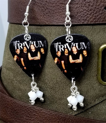 Trivium Group Picture Guitar Pick Earrings with White Swarovski Crystal Dangles
