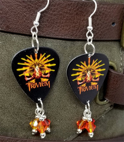 Trivium Guitar Pick Earrings with Fire Opal Swarovski Crystal Dangles