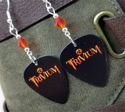 Trivium Guitar Pick Earrings with Fire Opal Swarovski Crystals