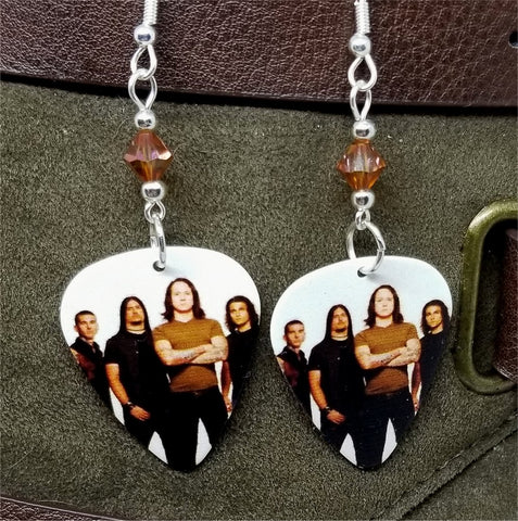 Trivium Group Photo Guitar Pick Earrings with Topaz Swarovski Crystals