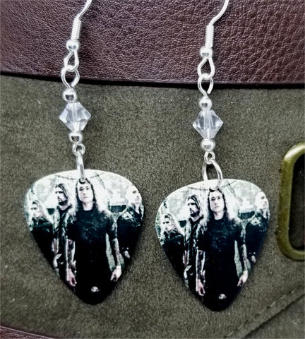 Trivium Group Photo Guitar Pick Earrings with Clear Swarovski Crystals