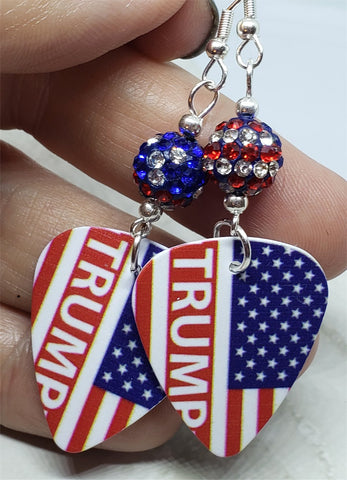 Trump American Flag Guitar Pick Earrings with American Flag Pave Beads
