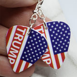 Trump American Flag Guitar Pick Earrings