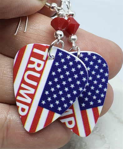 Trump American Flag Guitar Pick Earrings with Red Swarovski Crystals