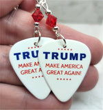 Trump Make America Great Again Guitar Pick Earrings with Red Swarovski Crystals