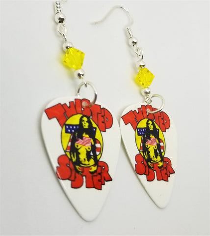 Twisted Sister Topless Woman Guitar Pick Earrings with Yellow Swarovski Crystals
