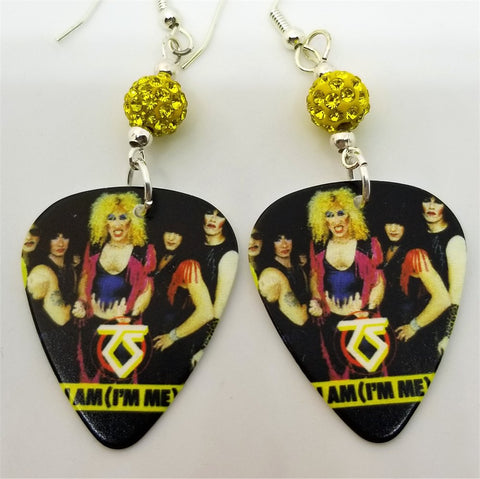 Twisted Sister I Am (I'm Me) Guitar Pick Earrings with Yellow Pave Beads