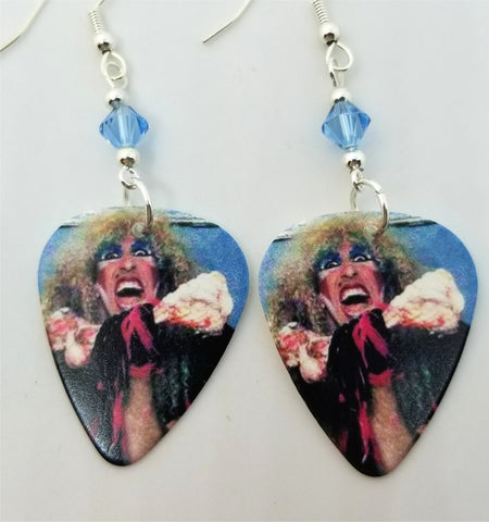 Dee Snider of Twisted Sister Guitar Pick Earrings with Blue Swarovski Crystals