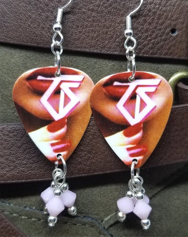 Twisted Sister Love Is For Suckers Guitar Pick Earrings with Pink Alabaster Swarovski Crystal Dangles