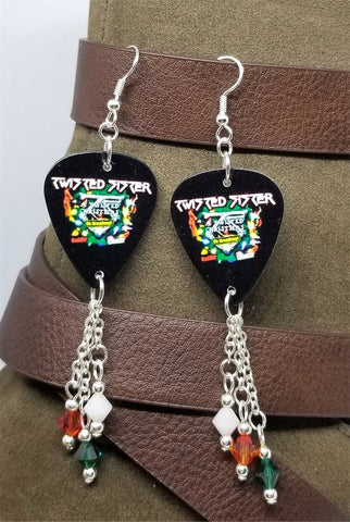 Twisted Sister Twisted Christmas Guitar Pick Earrings with Swarovski Crystal Dangles