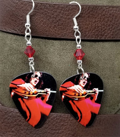 Eddie Ojeda of Twisted Sister Guitar Pick Earrings with Red Swarovski Crystals