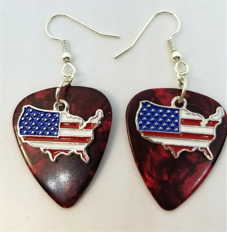 United States with Flag Charm Guitar Pick Earrings - Pick Your Color