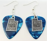 State of Utah Charm Guitar Pick Earrings - Pick Your Color