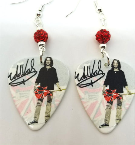Eddie Van Halen Signature Guitar Pick Earrings with Red Pave Beads