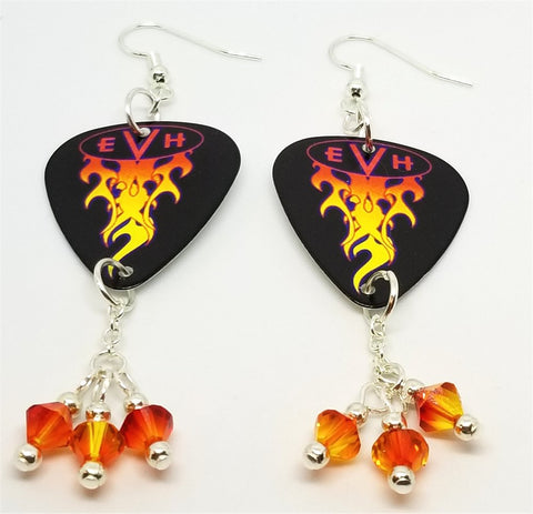 Eddie Van Halen EVH Guitar Pick Earrings with Fire Opal Swarovski Crystal Dangles