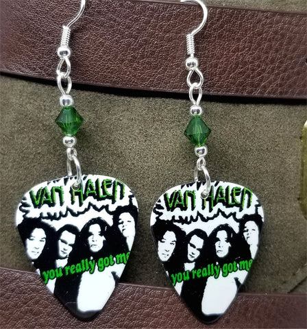 Van Halen You Really Got Me Guitar Pick Earrings with Green Swarovski Crystals