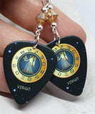 Horoscope Astrological Sign Virgo Guitar Pick Earrings with Metallic Sunshine Swarovski Crystals