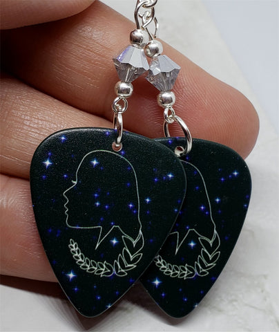Horoscope Astrological Sign Virgo Guitar Pick Earrings with Metallic Silver Swarovski Crystals