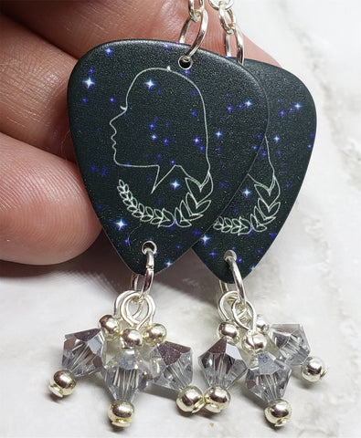 Horoscope Astrological Sign Virgo Guitar Pick Earrings with Metallic Silver Swarovski Crystal Dangles