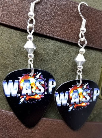 W.A.S.P. Emblem Guitar Pick Earrings with Silver Swarovski Crystals