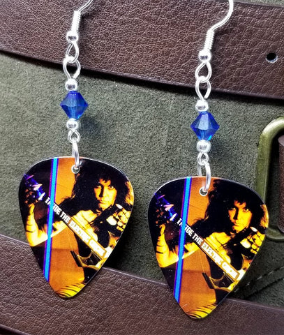 W.A.S.P. Randy Piper Guitar Pick Earrings with Capri Blue Swarovski Crystals