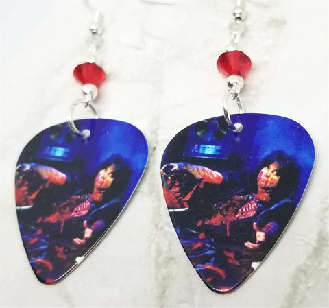 W.A.S.P. Blackie Lawless Guitar Pick Earrings with Red Swarovski Crystals