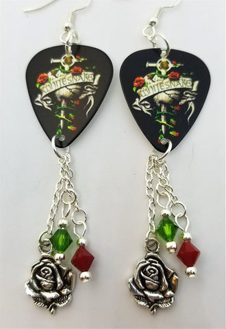 Whitesnake Restless Heart Guitar Pick Earrings with Rose Charm and Swarovski Crystal Dangles