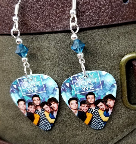 Why Don't We Guitar Pick Earrings with Blue Swarovski Crystals
