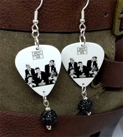 Why Don't We Invitation Guitar Pick Earrings with Black Pave Bead Dangles