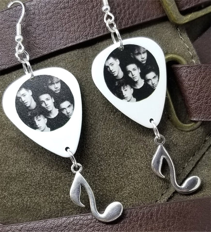Why Don't We Guitar Pick Earrings with Silver Music Note Charm Dangles