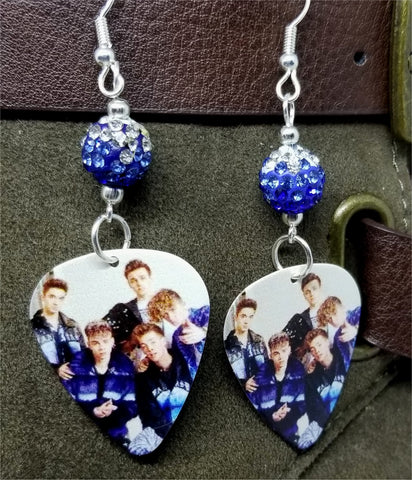 Why Don't We Guitar Pick Earrings with Blue Ombre Pave Beads