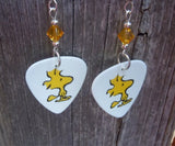 Woodstock Guitar Pick Earrings with Yellow Swarovski Crystals