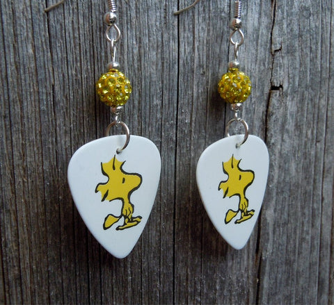 Woodstock Guitar Pick Earrings with Yellow Pave Beads
