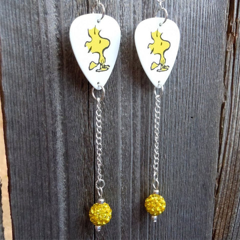 Woodstock Guitar Pick Earrings with Long Yellow Pave Bead Dangles
