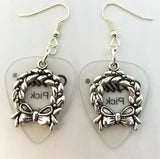 Christmas Wreath Charm Guitar Pick Earrings - Pick Your Color