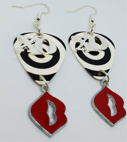 XO and Red Lip Charms on Black and White Circle Guitar Pick Earrings