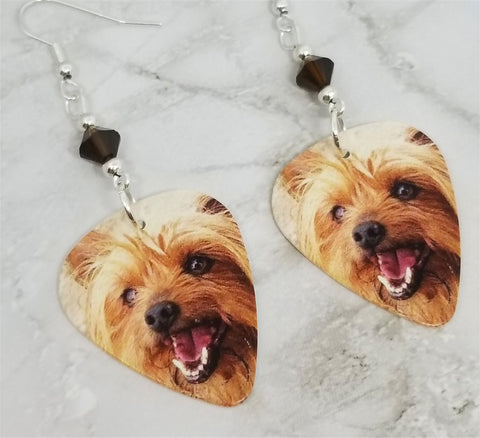 Yorkshire Terrier Yorkie Guitar Pick Earrings with Mocha Swarovski Crystals