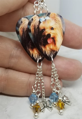 Yorkshire Terrier Yorkie Guitar Pick Earrings with a Bow Charm and Swarovski Crystal Dangles