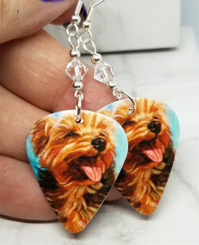 Yorkshire Terrier Yorkie Guitar Pick Earrings with Clear Swarovski Crystals