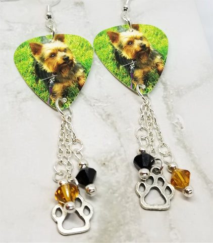 Yorkshire Terrier Yorkie Guitar Pick Earrings with a Paw Print Charm and Swarovski Crystal Dangles