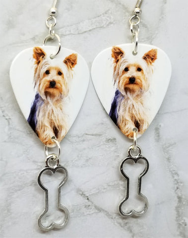 Yorkshire Terrier Yorkie Guitar Pick Earrings with Bone Charm Dangles